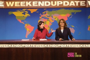 Look! It's Tina Fey (or as my daughter said, Tina Fake) and me at Seth Meyers' Weekend Update desk.
