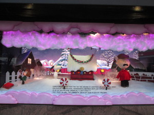 The clouds rise in this Macy's Peanuts window display, where the Red Baron is flying. Copyright Deborah Abrams Kaplan