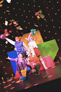 The cast with the buckets holding Mad Libs words from the audience. Photo courtesy of Mad Libs Live.