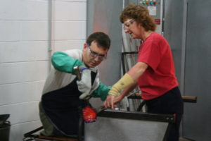Working the flower at the Corning Museum of Glass