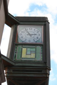 A clock on the main street in Corning.