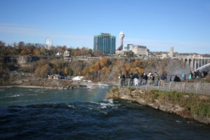 The built-up Canadian side of Niagara Falls