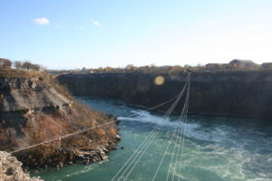 The Niagara Falls whirlpool area, with aero car cables.