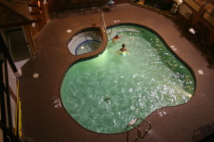 The hotel pool and hot tub.