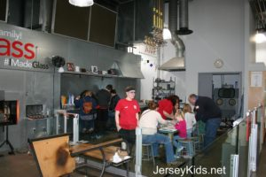 The fusing and flameworking area at the Corning Museum of Glass studio